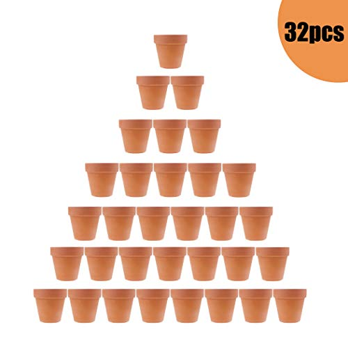 32pcs Small Mini Clay Pots, 2'' Terracotta Pot Clay Ceramic Pottery Planter, Cactus Flower Terra Cotta Pots, Succulent Nursery Pots, with Drainage Hole, for Indoor/Outdoor Plants, Crafts ()