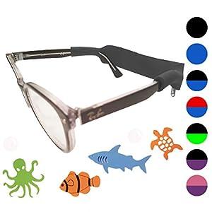 Kids Glasses Strap 2pk with Bonus Deep Sea Adventure Stickers (Black)