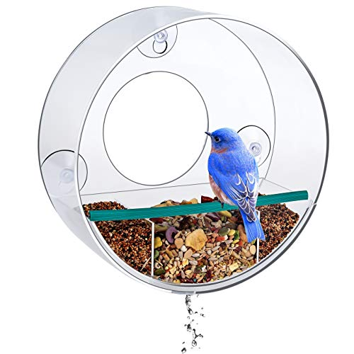 (Birdious Tube Window Bird Feeder: Watch Backyard Birds from Your House- Removable Tray with Drain Holes, Large Birdhouse, Clear See Through, Strong Suction Cups- Gift Idea)