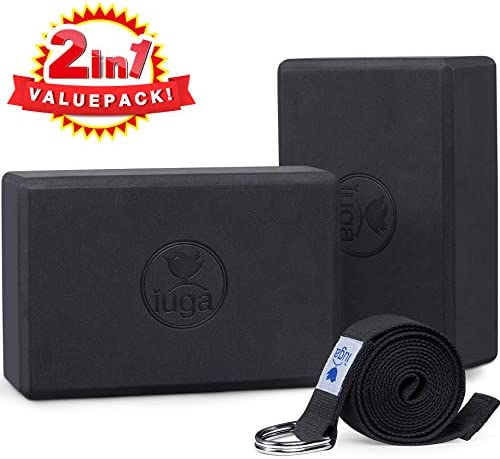 "IUGA Yoga Block 2 Pack with Yoga Strap, High Density Yoga Blocks 9""x6""x3""to Improve Strength, Flexibility and Balance, Light Weight and Non-Slip Surface for Yoga, Pilates and Meditation"