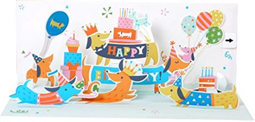 Up With Paper Pop-Up Panoramics Sound Birthday Greeting Card - Dachshunds