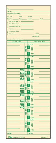TOPS Time Cards, Weekly, 1-Sided, Numbered Days, 3-1/2'' x 10-1/2'', Manila, Green Print, 500-Count (1253) by Tops