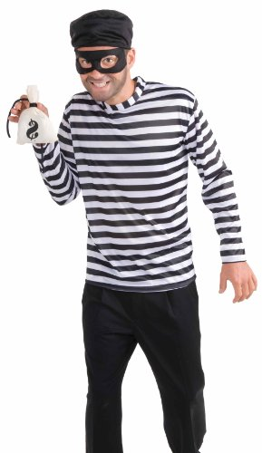 [Men's Burglar Costume, White/Black, One Size] (Black Men Halloween Costume)