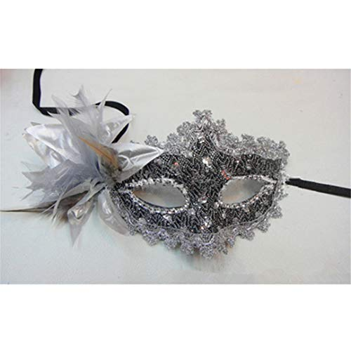 (PATY&COSMSK Lace Venetian Mask Masquerade Carnival Masked Ball Fancy Dress Costume Silver)