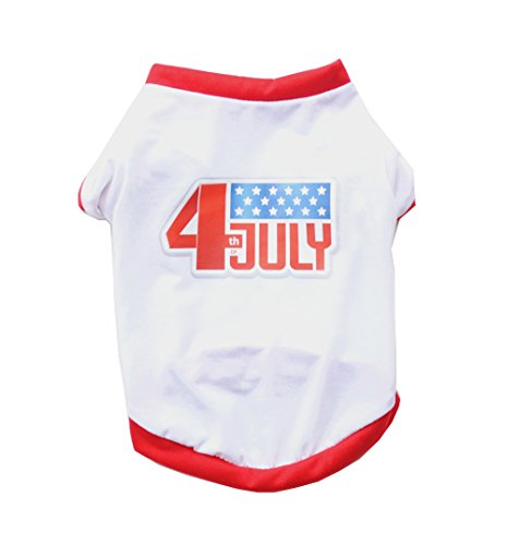 Mummumi Small Dog Clothes, Pet Puppy Coat July Fourth Dog T Shirt Vest Clothes Thin Breathable Summer Pet Clothes For Cat Pet Small Dog Yorkshire Chihuahua (XS, White (4 Dog T-shirt)