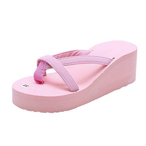 Women's Comfy Thong Platform Flip Flop Wedges Sandals,Indoor & Outdoor Anti-Slip Slipper Beach Casual Shoes Pink