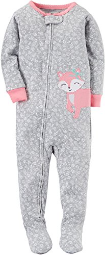 Carter's Girls' 12 Months-5T Girly Floral Fox Print One Piece Cotton Pajamas 18 Months