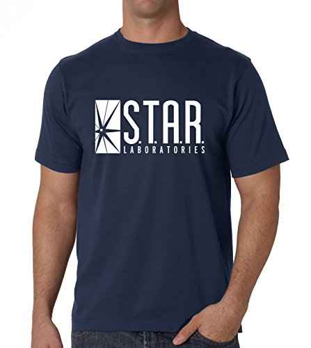 Mens S.T.A.R. Laboratories Superman DC Comics The Flash Tee XL Navy Mens Flash