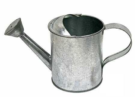 Package of 4 Galvanized Metal Watering - Tin Watering Can