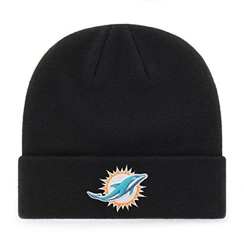 NFL Miami Dolphins OTS Raised Cuff Knit Cap, Black, One Size