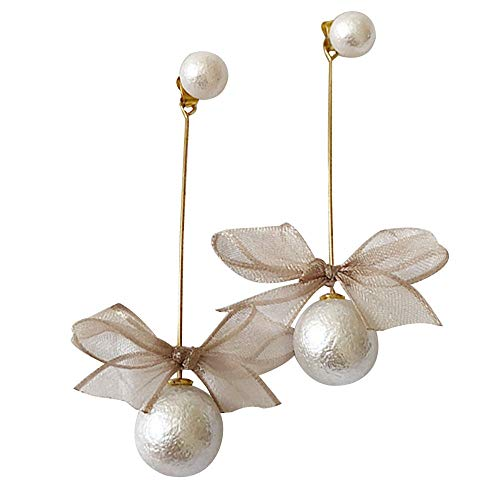 (Ribbon Bow Simulated Pearl Drop Earrings Long Chain Tassel Dangle Earring Zircon Stud Earring For Bridal Women)