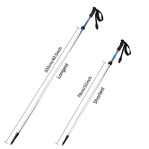 [1 Pair] Trekking Poles, Angozo Foldable Collapsible, Ultralight, Height Adjustable Hiking Poles [1 Year Warranty]