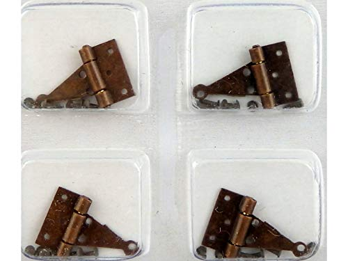 Handley House Dollhouse Miniature 4 T-Hinges in Bronze Finish with 24 Nails