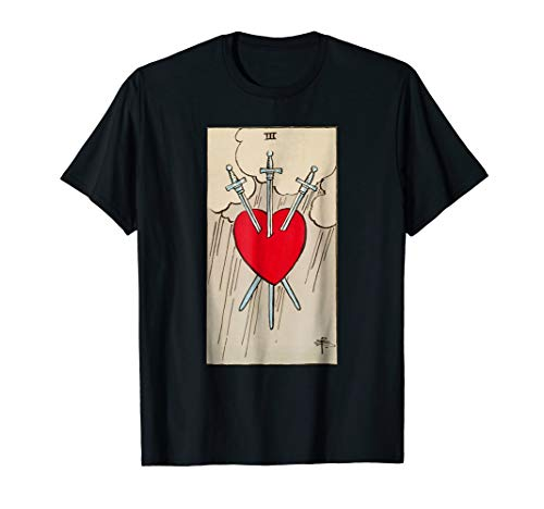 Three of Swords Vintage Tarot Card Heart T-shirt