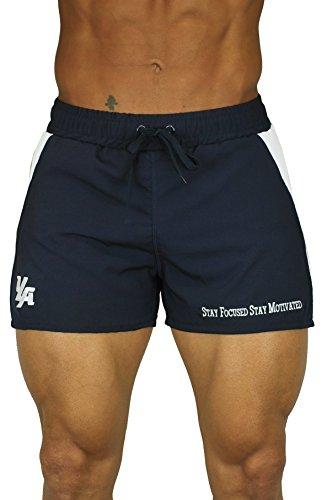 YoungLA Men's Bodybuilding Lift Shorts W/ Zipper Pockets Small NavyWhite