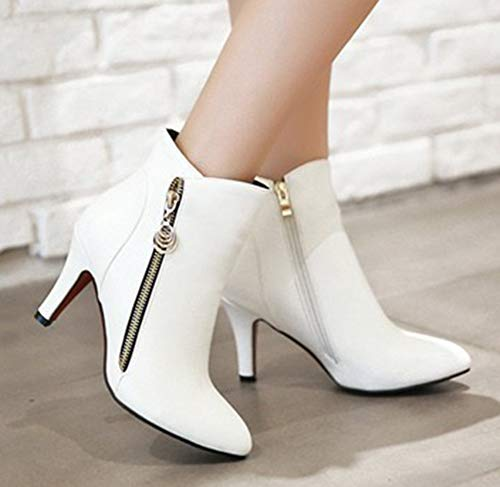 Pointue Aisun Haut Elégant Femme Coupe Bottines Blanc Conique Talon ZxZHwFq