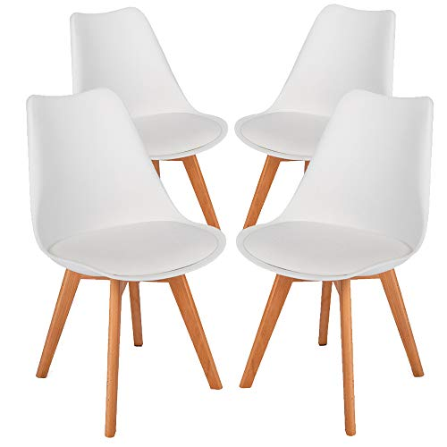 (Bonnlo Modern Dining Chairs Set of 4 Mid-Century Upholstered Kitchen Chairs with Solid Wood Legs Tulip Chair Accent Side Chair for Dining/Living Room)