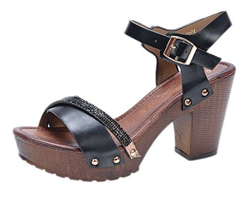 Rhinestone Dressy Sandal (Nature Breeze Vint-02 Black 8.5 Platform Wedge Wooden Heel Rhinestone)