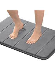 "24"" x 17"" Microfiber Memory Foam Bath Mat with Anti-Skid Bottom Non-Slip Quickly Drying Dove Gray Striped Pattern"