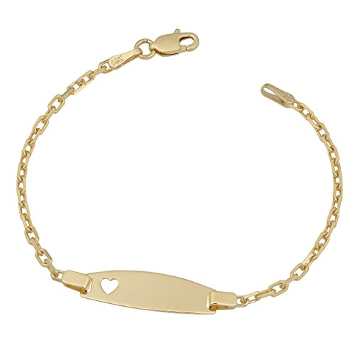 Kooljewelry 14k Yellow Gold Cable Link ID Bracelet with Heart (5.5 inch)