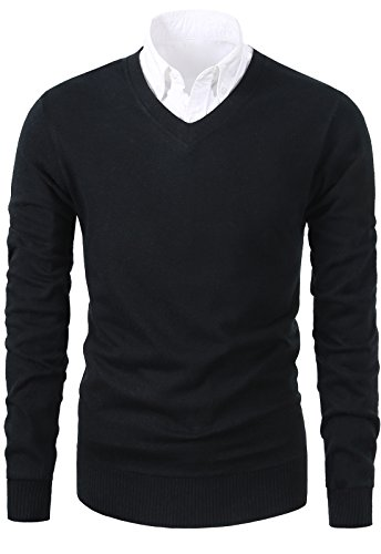 Mesahara+Mens+Casual+Slim+Fit+Knit+V-Neck+Pullover+Sweater+%28Large%2C+Black%29
