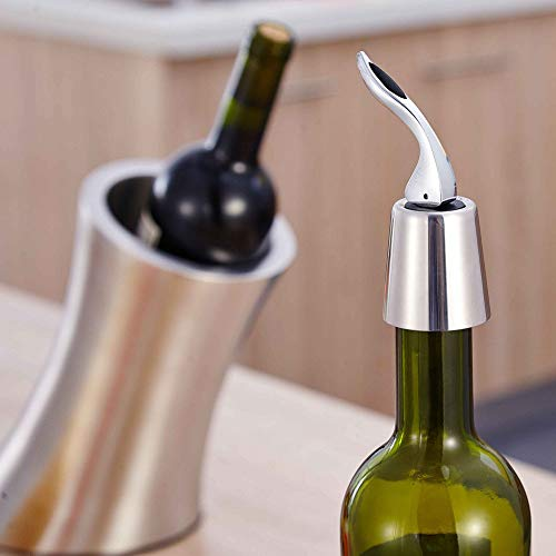 Wine Stoppers - Stainless Steel Wine Stopper Vacuum Pump Red Bottle Stopers Standard Storage Plug - Vacuum Expanded Wine Steel Crafts Reusable Stainless