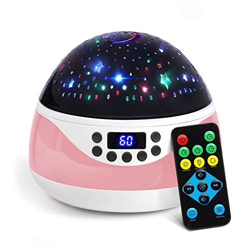 AnanBros Remote Baby Night Light with Timer Music, Star Night Light Projector for Kids, Rotating Kids Night Lights for Bedroom 9 Color Options, Projection Lamp for Baby Christmas Gifts Pink