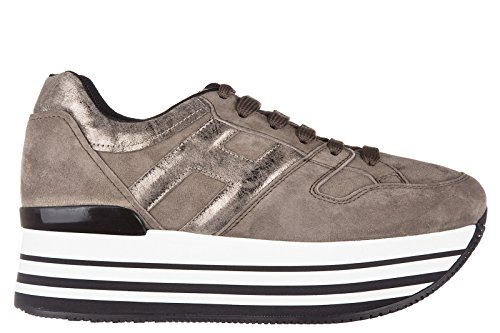 Hogan chaussures baskets sneakers femme en daim h283 maxi 222 allacciato h grand