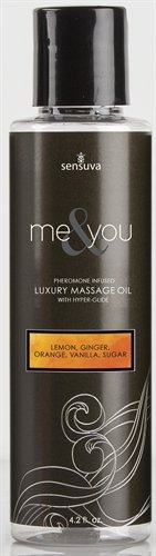 Sensuva Me and You Luxury Massage Oil, Lemon/Ginger/Orange/Vanilla, 4.2 Fluid Ounce