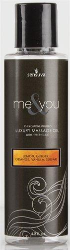 Sensuva Me and You Luxury Massage Oil, Lemon/Ginger/Orange/Vanilla, 4.2 Fluid Ounce