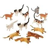 US Toy Dozen Plastic Cat Figures, 2'