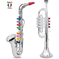 Click N' Play Musical Wind Instruments for Kids, Metallic Silver Saxophone and Trumpet Horn, Set of 2