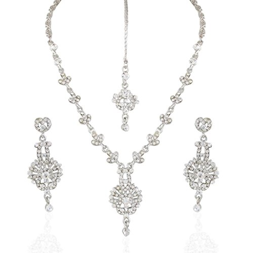 I Jewels Cocktail Rodium Plated Stone Necklace Set With Maang Tikka for Women ()