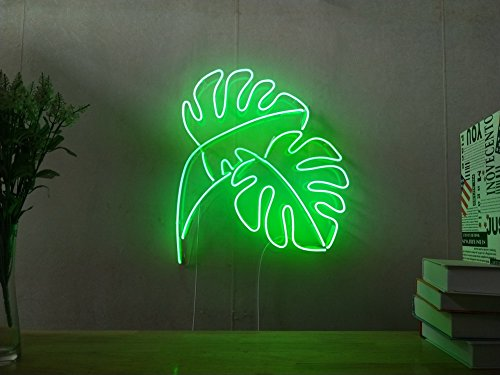 Monstera Leaf Industrial Panama Real Glass Neon Sign For Bedroom Garage Bar Man Cave Room Home Decor Handmade Artwork Visual Art Dimmable Wall Lighting Includes Dimmer ()