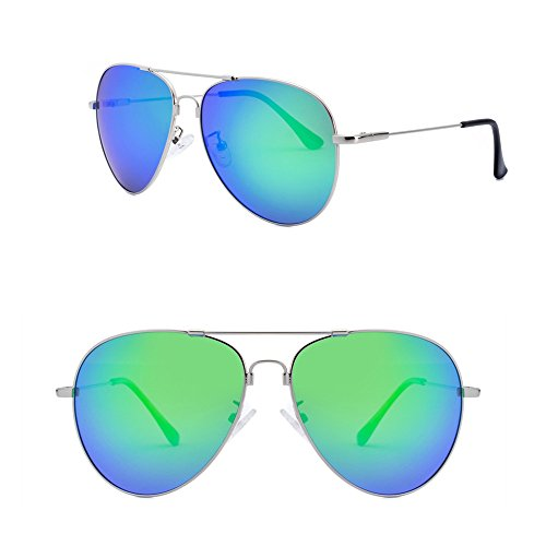 Lomiss Fashion Unisex Ultralight Memory Metal HD Polarized Aviator Driving Sunglasses (Silver Frame/Green Lens, - Popular Aviator Most Sunglasses