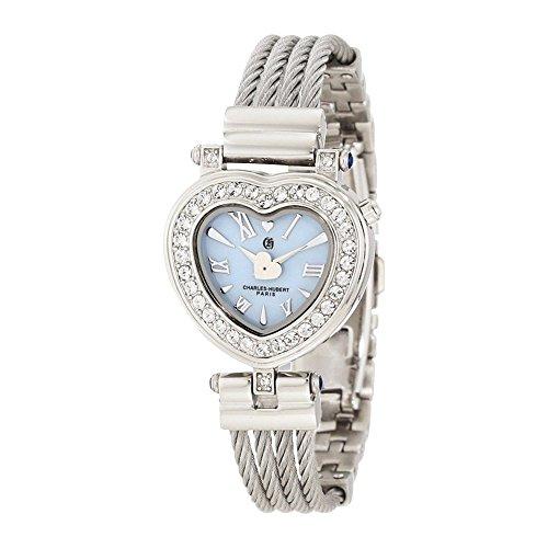 Stnlss Stl Bangle Light Blue Mop Heart Dial Watch by Charles Hubert Paris Watches ()