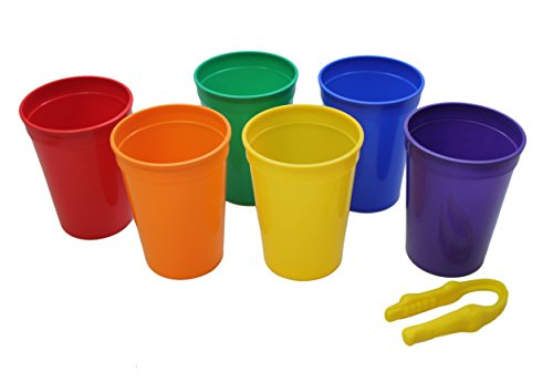 6 Color Sorting Cups with Tong for Preschool and Early Childhood Education - Color learning toy - Sorting Tray