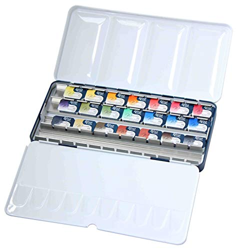 Ronalds Gallery Professional Watercolor Paint, Set of 21, Full Pan, Made in Europe. Vibrant Colors in Metal Box, Perfect for Artists and Art Painting, Ideal for Watercolor Techniques. Rosa Edition (Best Art Galleries In Europe)