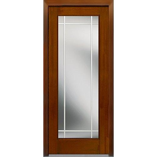 National Door Company Z007036R Fiberglass Mahogany, Warm Chestnut, Right Hand In-swing, Exterior Prehung Door, Internal Grilles Full Lite, 36''x80'' by National Door Company