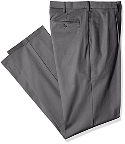Dockers Men's Big & Tall Signature Khaki Pleated Pant, Burma Grey/Stretch, 42x36