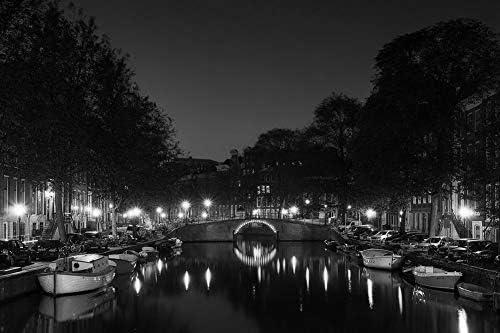 アムステルダムの壁紙-世界の壁紙-#37778 - 白黒の キャンバス ステッカー 印刷 壁紙ポスター はがせるシール式 写真 特大 絵画 壁飾り60cmx40cm