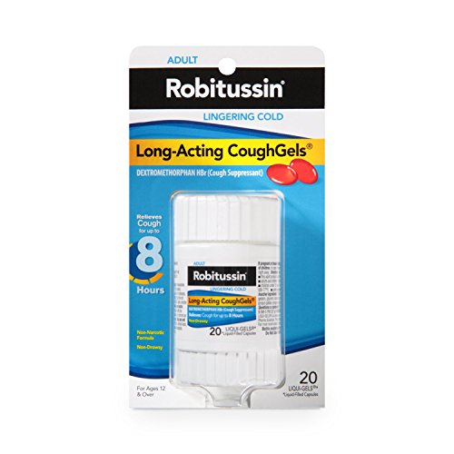 - Robitussin Adult Long-Acting CoughGels (20 Count), 8-Hour Non-Drowsy Cough Suppressant, Liqui-Gels Capsules