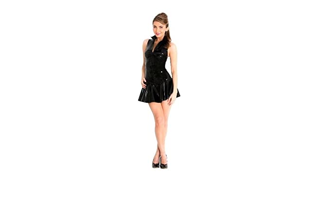 8de8b89eb5 GGTBOUTIQUE Top Totty Range Sexy Black PVC High Neck Sleeveless Zipper Mini  Dress  Amazon.co.uk  Clothing