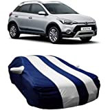 DRIZE™ Polyester Material Water Resistant Car Cover for Hyundai I20 Active with Triple Stitched Fully Elastic Ultra Surface Body Protection (Strips White with Mirror Pockets)