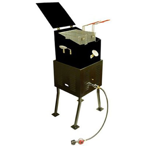 King Kooker #2290 Deluxe Multi-Purpose Outdoor Cooker Package with Black Steel V-Bottom - Rectangular Propane Outdoor Cooker