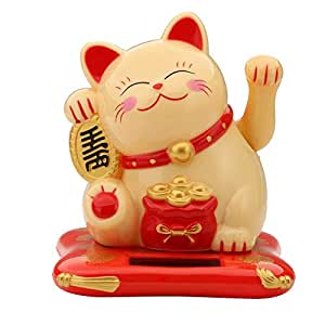 akaddy Cute Shaking Hands Solar Lucky Fortune Cat Wealth Waving Figurine Yellow