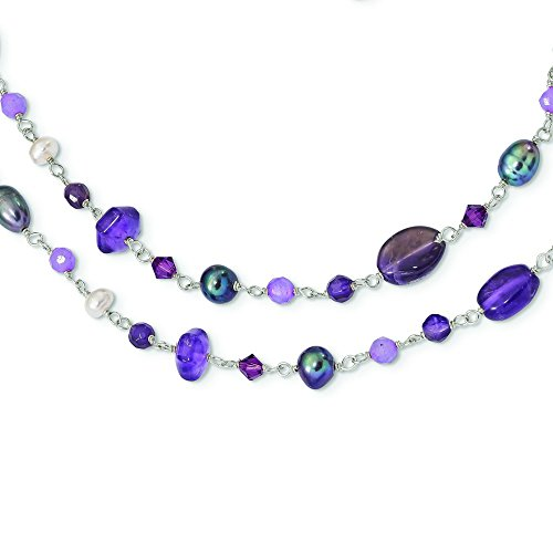 7.4mm Sterling Silver Fwcult.pearl (grey and White) Amy Lavender Dyed Jade Necklace - 54 Inch by JewelryWeb