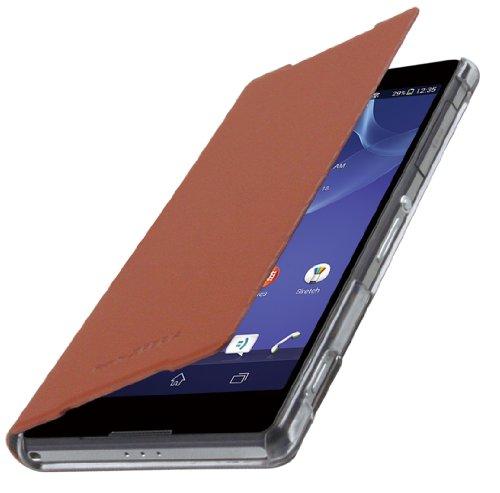 Roxfit Slimline Book Case Flip Cover 'Made for' Sony Xperia Z2 - Dark Tan