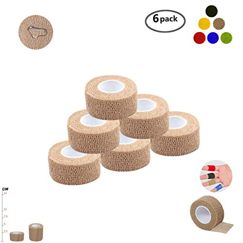 Self Adherent Wrap Tape Medical Cohesive Bandages Flexible Stretch Athletic Strong Elastic First Aid Tape for Sports Sprain Swelling and Soreness on Wrist and Ankle 6 Pack 1Inch X 5Yards(Beige)