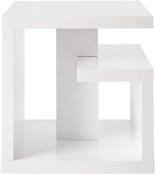 Miliboo - Mesa auxiliar de diseño lacada blanca HALTON: Amazon.es ...